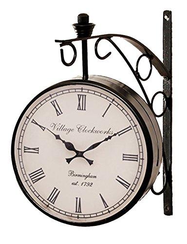 RoyalsCart Double Sided Railway Station/Platform Analog Wall Clock Standard Black - Railway Station Clock