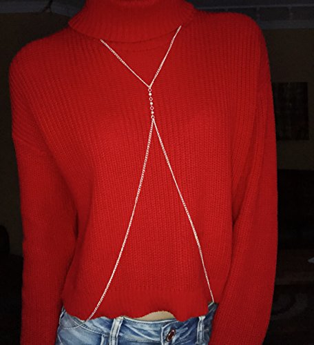 Body Chains for Teens & Women - Trendy Fashion Belly Jewelry Necklace Dresses Up Any Outfit (Silver) by Off the Chain (Image #2)