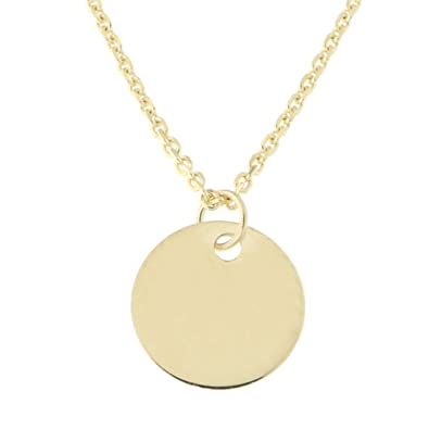 81afa98f6873f Amazon.com: Beauniq 14k Yellow Gold Small Engravable Disc Pendant ...