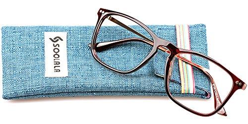 SOOLALA Designer Large Horn Rimmed Clear Lens Eyeglass Frame Reading Glasses, ClearLens, - Glasses Frames Zero