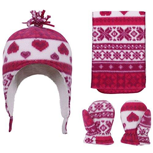 SimpliKids Patterned Fleece Beanie, Scarf & Gloves Set, Heart Print, 5-7 (Printed Fleece Mitten)