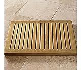 "Grade-A Teak Wood Rectangular 24"" Door / Shower/ Spa / Bath Floor Mat with Rounded Corners in Natural"