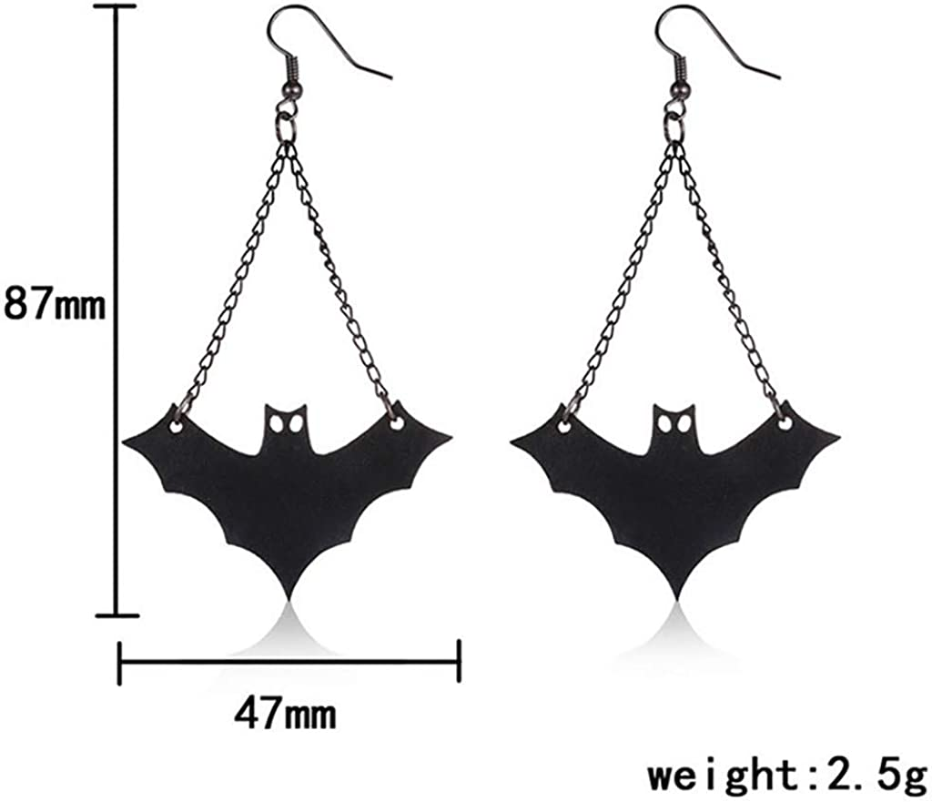 JonerytimeHalloween New Creative European and American Retro Style Halloween Black Bat Earrings
