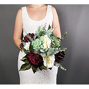 Best Quality Elegant Wedding Bouquet Silk Flowers Burgundy Greenery 115