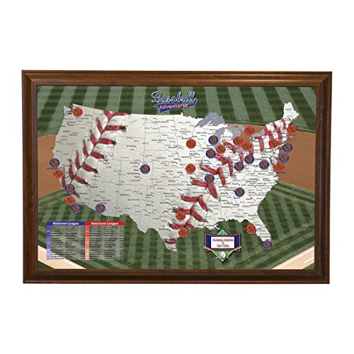 Push Pin Travel Maps Personalized Baseball Adventures with Brown Frame and Pins - 27.5 inches x 39.5 - Stadium Print Personalized