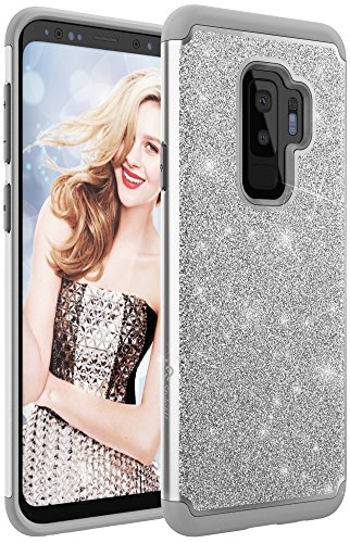 Samsung Galaxy S9 Plus Case, Style4U Phone Cover [Shockproof] S9+ Stylish Case Sparkle No-Mess Glittler Armor Bling Protective Phone Cover for Galaxy S9 Plus [Silver / Gray] (Silver Phone Cover)