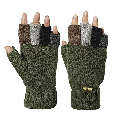 Knitted Glove Warm Wool Sentry Mitten Winter Convertible Glove with Mitten Cover (Dark Green)