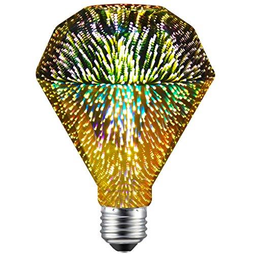 CanYa Diamond Shape Filament Fireworks Light Bulb Colorful RGB 3D Light Bulb Decorative LED Bulb Lamp D95 Pack of 1 for Party bar Decoration