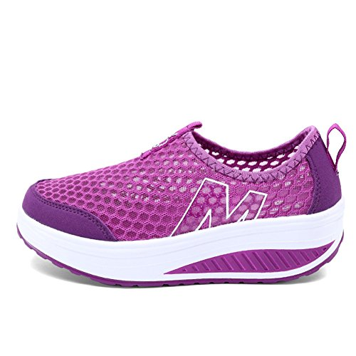 Mljsh Women's Slip-On Platform Shoes Purple Fitness Work Out Sneaker 9 US Women