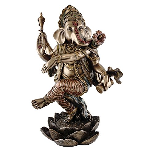 Top Collection Large 18-inch Tall Dancing Ganesh on Lotus Pedestal. Hindu Elephant God of Success. Bronze Powder Mixed with Resin - Bronze Finish with Color Accents.