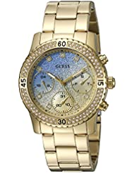 GUESS Womens U0774L2 Sporty Gold-Tone Watch with Blue Dial , Crystal-Accented Bezel and Stainless Steel Pilot...