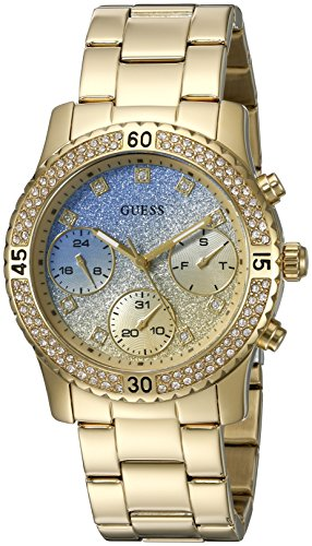 Buckle Steel Dial Stainless (GUESS Women's U0774L2 Sporty Gold-Tone Watch with Blue Dial , Crystal-Accented Bezel and Stainless Steel Pilot Buckle)