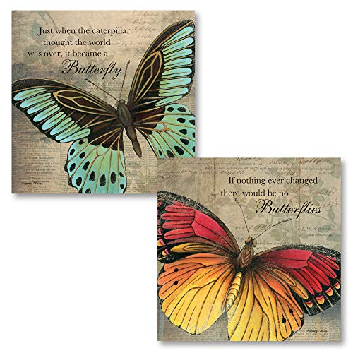 Butterfly Large Poster - Gango Home Décor Inspirational Butterfly If Nothing Ever Changed There Would Be No Butterflies and Just When The Caterpillar Thought The World was Over, It Became A Butterfly; 2-12x12 Unframed Prints