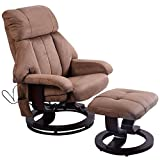 Brown Leisure Recliner Chair Ottoman with 8-Motor Massage Heated Swivel + FREE E-Book