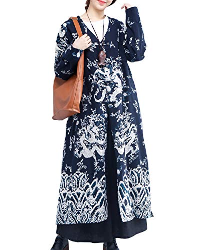 YESNO T274 Women Long Trench Jacket Chinese Traditional Qipao Dragon Robe 2 Layer Navy Blue