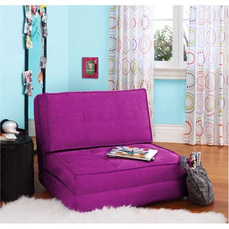 Flip Chair Convertible Sleeper Dorm Bed Couch Lounger Sofa in Berry