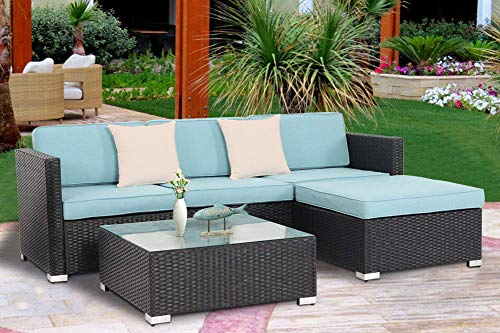 Oakmont Outdoor Patio 5 pc Sectional Sofa Set All Weather Wicker with Sky Blue Cushion | Exquisite Glass-Top Coffee Table
