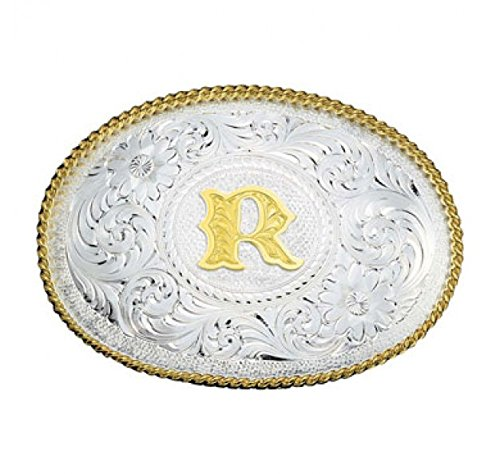- Montana Silversmith Initial Silver Engraved Gold Trim Western Belt Buckle (R)