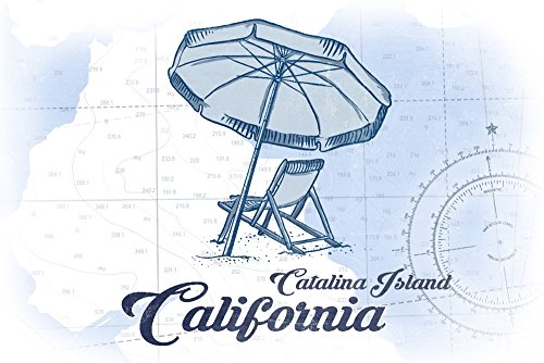 Catalina Island, California - Beach Chair and Umbrella - Blue - Coastal Icon (16x24 SIGNED Print Master Giclee Print w/Certificate of Authenticity - Wall Decor Travel Poster)