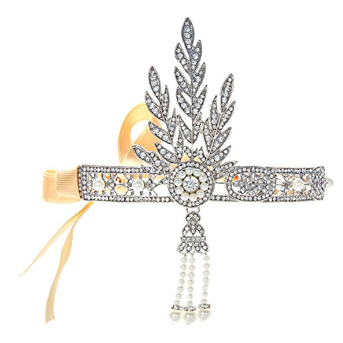 BABEYOND 1920s Flapper Headband Roaring 20s Great Gatsby Inspired Headpiece Vintage 1920s Flapper Gatsby Accessories Leaf Style with Pearl (Flapper Style Accessories)