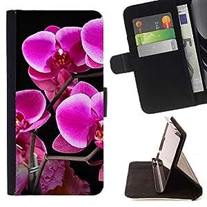 Momo Phone Case / Flip Funda de Cuero Case Cover - Purple Lily Flores;;;;;;;; - Samsung Galaxy A3