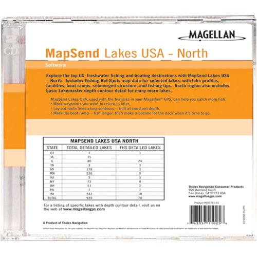 (Magellan MapSend North U.S.A. Lakes Freshwater Map microSD Card)