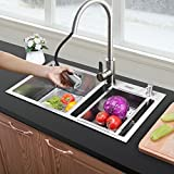 28 Inch Double Bowl Kitchen Sink Stainless Steel 18 Gauge with Free Strainer Drain Basket