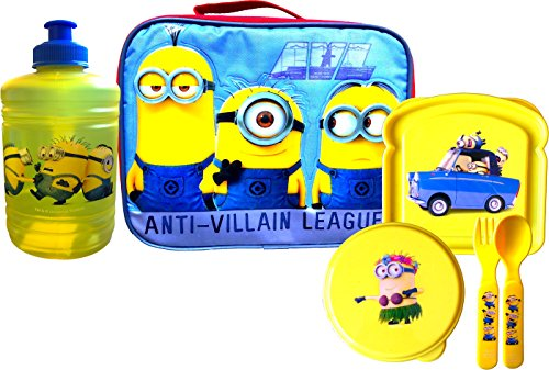 - Despicable Me Minions Lunch Box Anti Villain League with Lunch Essentials Bottle , Flatware Set, Snack and Sandwich Container (16 oz water jug with handle)