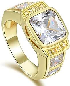 خاتم للرجال مطلي ذهب أصفر بحجر كريم توباز (سوليتيرS-Z) مقاس 10