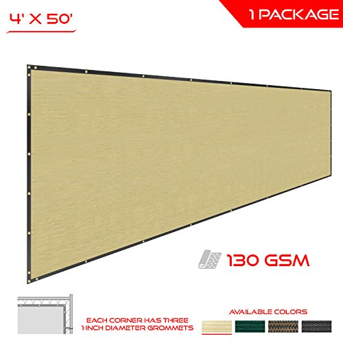 The Patio Shop Privacy Fence Screen 4' x 50' Commercial Outdoor Shade Windscreen Mesh Fabric with brass Gromment 130 GSM 88% Blockage 4' x 50' in color Beige-2 Years Warranty