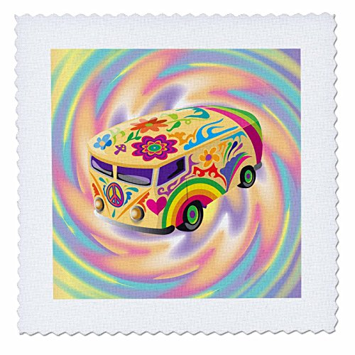 3dRose Funky Retro Hippie Sixties Seventies Bus with Swirly Psychedlic Background - Quilt Square, 25 by 25-Inch (60s Background)