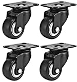 Swivel Caster Wheels Rubber Base with Top Plate & Bearing Heavy Duty with Pack of 4 Black by Online Best Service (1.5'' NO Brake)