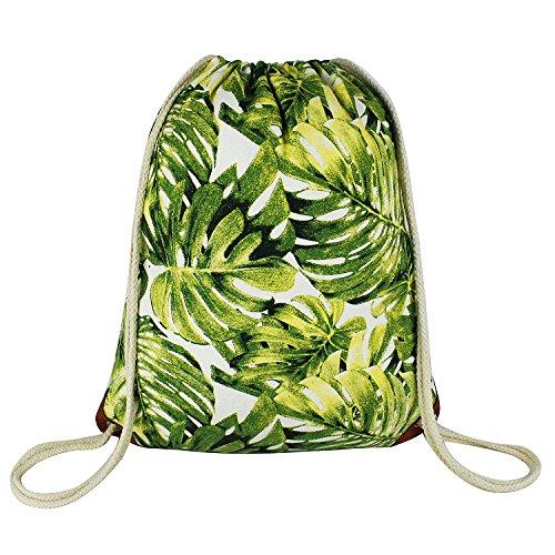 Leaf Drawstring Backpack with Pocket Canvas Leather Reinforced Corners Gym Sackpack Monstera Leaves Backpack for Women Men