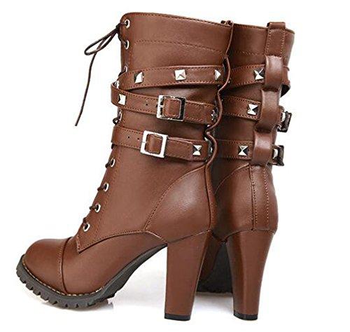 Boots VECJUNIA Lace Zipper Hem Heel High Rivet Winter Brown Mid Side Boots Calf Up High High Ladies Decoration 8wr0qt8