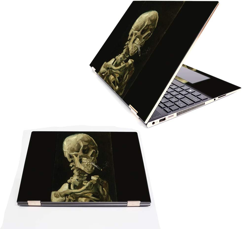 """MightySkins Skin Compatible with HP Spectre x360 15.6"""" (2018) - Skull with Cigarette   Protective, Durable, and Unique Vinyl Decal wrap Cover   Easy to Apply, Remove   Made in The USA"""