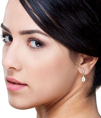 Miore Earrings Women Freshwater Pearls Drop earrings  with Brilliant Cut Diamonds White Gold 9 Kt / 375