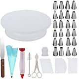 Cake Decorating Supplies,Thsinde 34 Cake Decorating Supplies with Cake Turntable,1 Icing Spatula,24 Stainless Icing Tip,1 Pastry Bags,1 Cake Brush,1 Cake Cutter,1 Cake Pen,3 Cake Scrapers