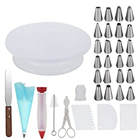 Cake Decorating Supplies,34 Cake Decorating Supplies with Cake Turntable,1 Icing Spatula,24 Stainless Icing Tip,1 Pastry Bags,1 Cake Brush,1 Cake Cutter,1 Cake Pen,3 Cake Scrapers