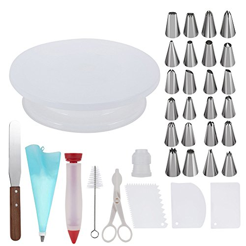 Cake Decorating Supplies,Thsinde 34 Cake Decorating Supplies with Cake Turntable,1 Icing Spatula,24 Stainless Icing Tip,1 Pastry Bags,1 Cake Brush,1 Cake Cutter,1 Cake Pen,3 Cake Scrapers (Decorating And Baking Supplies)