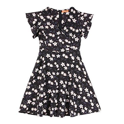 Sexy Flower V Black Neck Ruffle Summer Women Chiffon Dress Bohemian Print Diamondo Sleeves wqftYRf