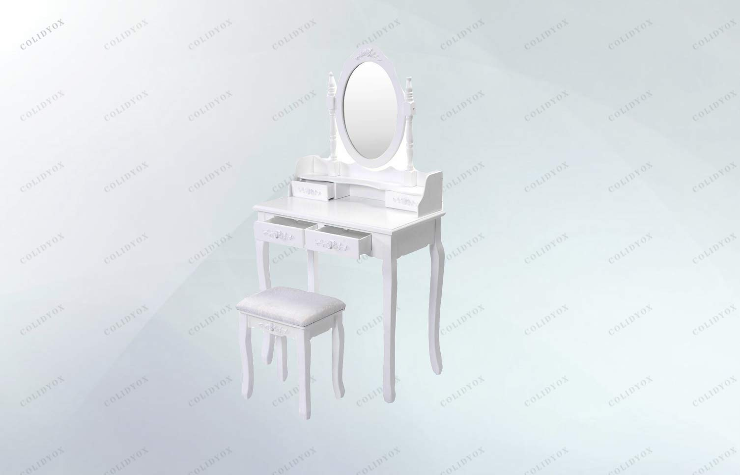 COLIDYOX>>>White Vanity Wood Makeup Dressing Table Our White Vanity Makeup Table and Stool Set is The Preference for Every Girl. Made of Thick MDF Panel and Pine Wood Leg