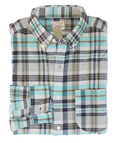 J Crew Men's Classic Fit - Navy/Turquoise Madras Plaid Button Front Shirt (Large)