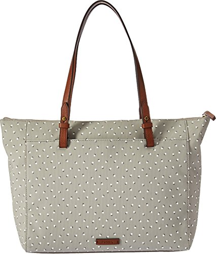 Fossil Rachel Top Zip Tote Bag, Grey/White Fossil Top
