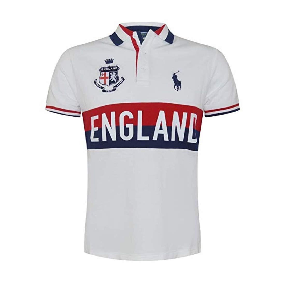 Shirtxx Mens LargeWhiteredblue Mesh Lauren Polo Fit Pony Custom Country England Big Ralph NPvn0Owym8