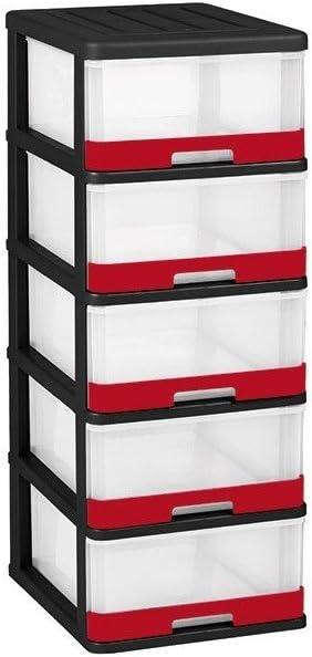 ALLIBERT 228557 Tour de Rangement Hercule 5 Tiroirs 25L Plastique 50 x 40 x 104 cm Noir//Rouge