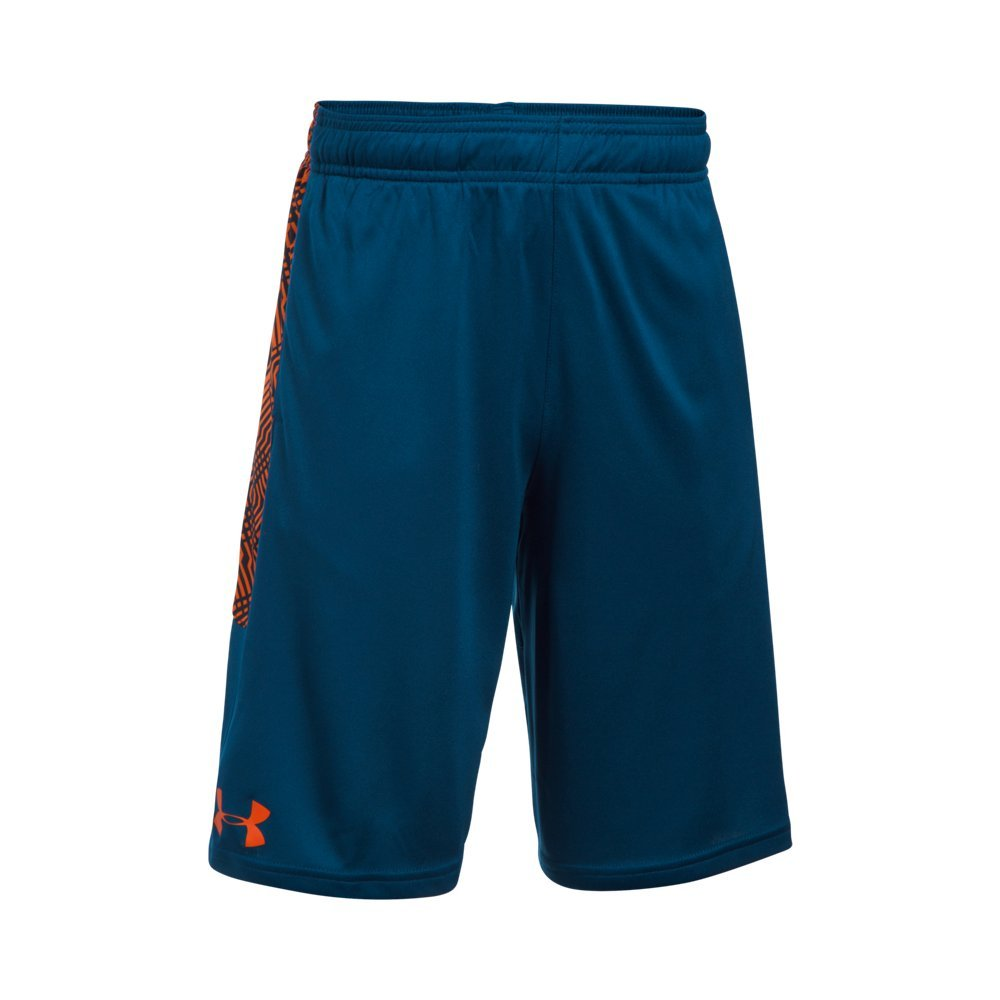 Under Armour Boys' Instinct Printed Shorts, Blackout Navy /Overcast Gray Youth Small by Under Armour