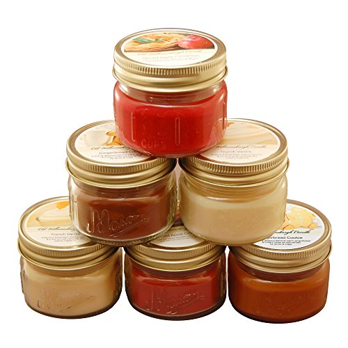(Lumabase 27706 6 Count Holiday Collection in Mason Jars Scented Candles, 3 oz,)