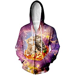 RAISEVERN Unisex Galaxy Space Pizza Cat Taco Printed Drawstring Zip Up Hoodies Sweatshirt Jacket Small
