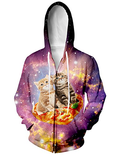 RAISEVERN Unisex Humorous Galaxy Pizza Cat Hoodie for Holiday Halloween or Daily Work Life XX-Large