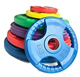 Body Revolution Olympic Weight Plates by Rubber Coated Cast Iron Weights Set – Tri Grip Radial –...